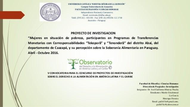 """UNIVERSIDAD CATÓLICA """"NUESTRA SEÑORA DE LA ASUNCIÓN"""" Campus Universitario de Asunción FACULTAD DE FILOSOFÍA Y CIENCIAS HUM..."""