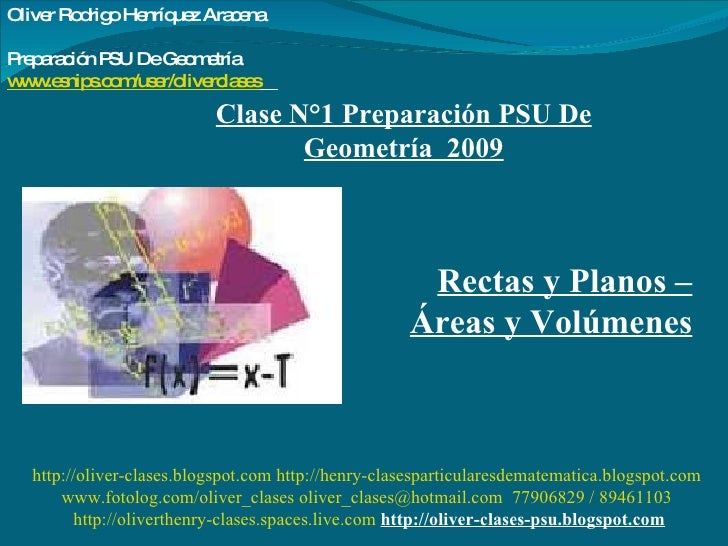 Clase N°1 Preparación PSU De Geometría  2009 Rectas y Planos – Áreas y Volúmenes http://oliver-clases.blogspot.com   http:...
