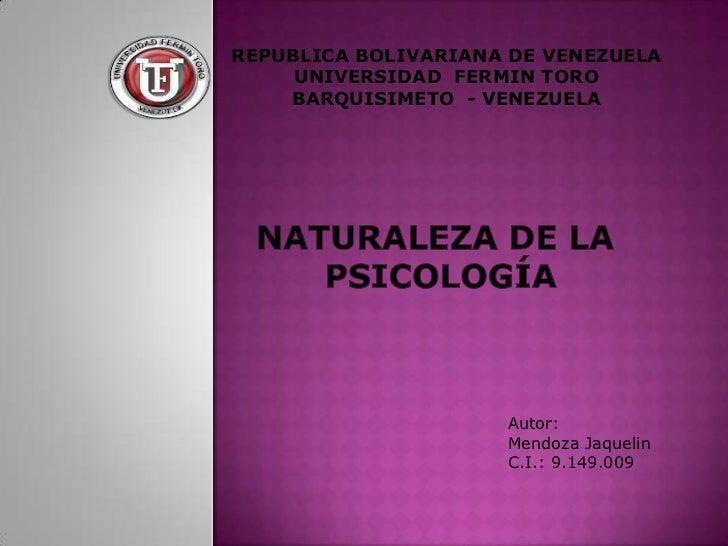 REPUBLICA BOLIVARIANA DE VENEZUELA     UNIVERSIDAD FERMIN TORO    BARQUISIMETO - VENEZUELA                     Autor:     ...