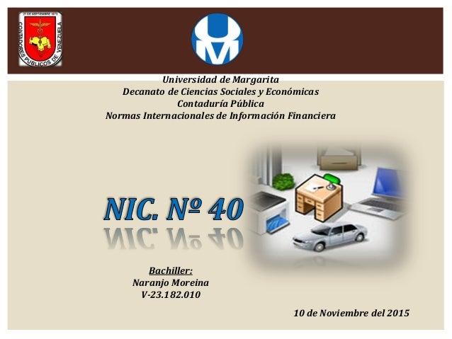 Universidad de Margarita Decanato de Ciencias Sociales y Económicas Contaduría Pública Normas Internacionales de Informaci...