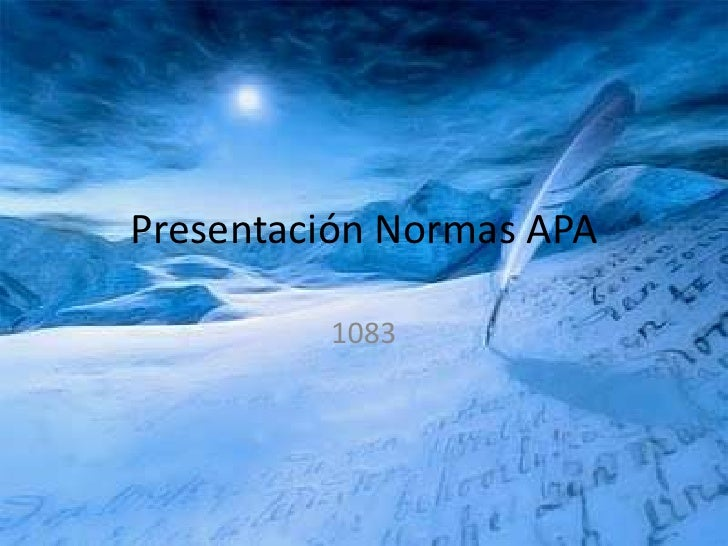 Presentación Normas APA<br />1083<br />
