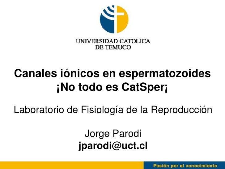 Canales iónicos en espermatozoides       ¡No todo es CatSper¡Laboratorio de Fisiología de la Reproducción                J...