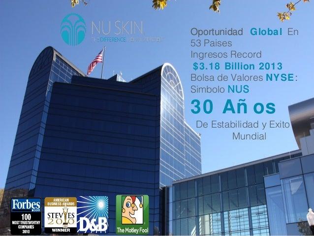 2 Oportunidad Global En 53 Paises Ingresos Record $3.18 Billion 2013 Bolsa de Valores NYSE: Simbolo NUS 30 Añ os De Estabi...