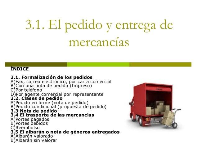 3.1. El pedido y entrega de mercancías ÍNDICE 3.1. Formalización de los pedidos A)Fax, correo electrónico, por carta comer...