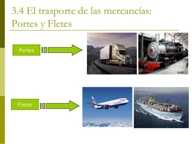 3.4 El trasporte de las mercancías: Portes y Fletes Portes  Fletes