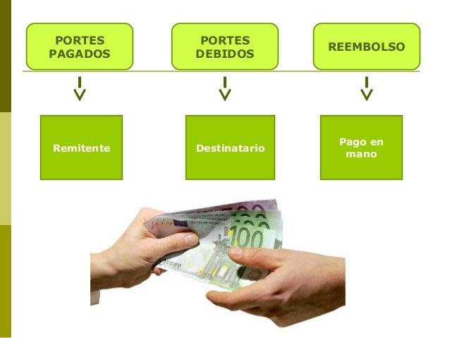 PORTES PAGADOS  Remitente  PORTES DEBIDOS  Destinatario  REEMBOLSO  Pago en mano