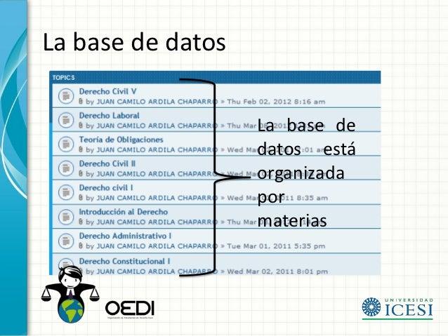 La base de datos                   La base de                   datos está                   organizada                   ...