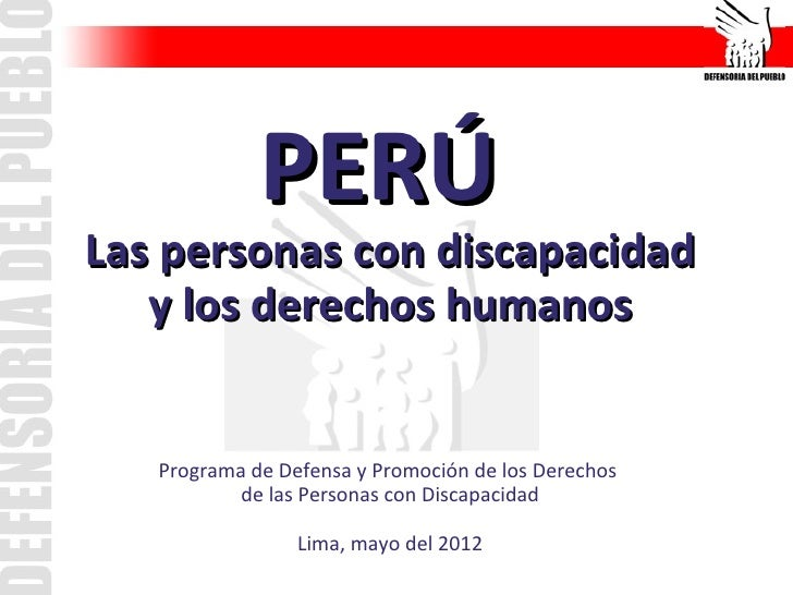 PERÚLas personas con discapacidad   y los derechos humanos   Programa de Defensa y Promoción de los Derechos           de ...