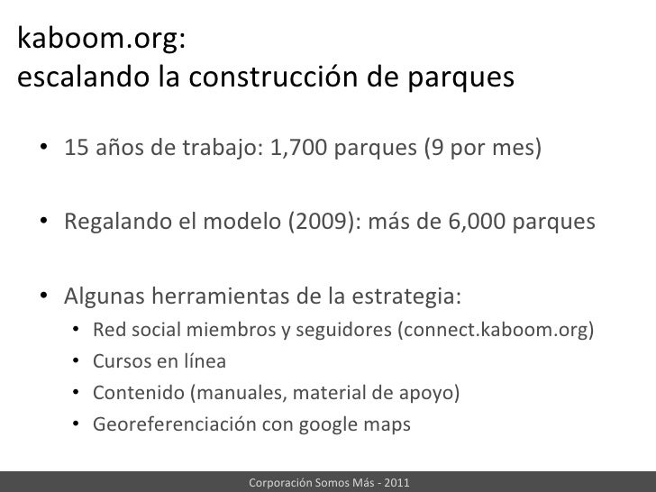 kaboom.org: escalando la construcción de parques<br /><ul><li>15 años de trabajo: 1,700 parques (9 por mes)