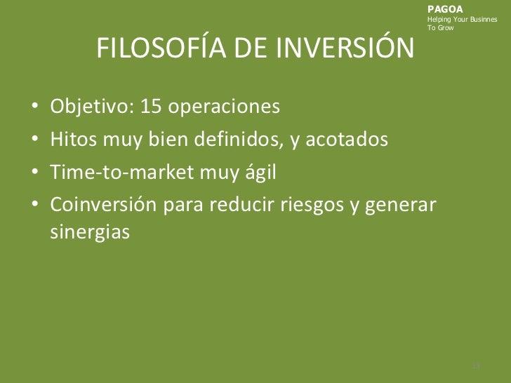 FILOSOFÍA DE INVERSIÓN<br />Objetivo: 15 operaciones<br />Hitos muy bien definidos, y acotados<br />Time-to-marketmuy ágil...