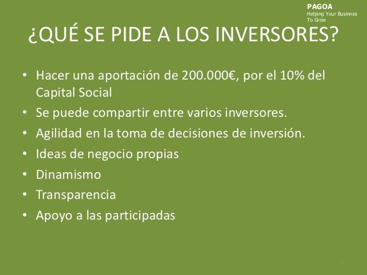 ¿QUÉ SE PIDE A LOS INVERSORES?<br />Hacer una aportación de 200.000€, por el 10% del Capital Social<br />Se puede comparti...