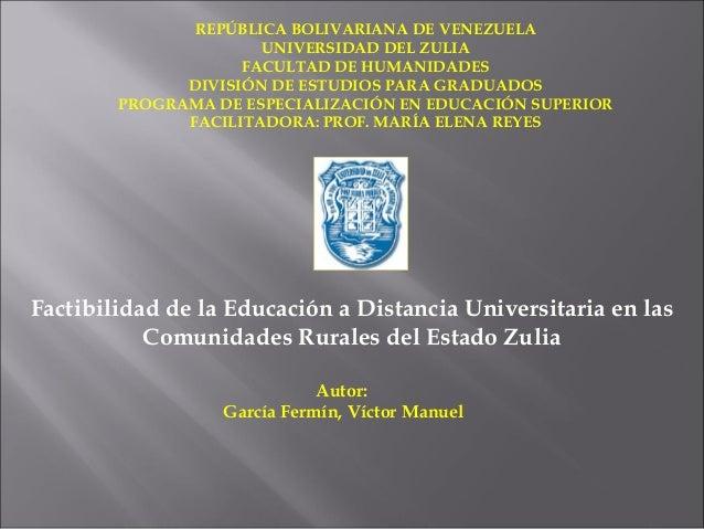 REPÚBLICA BOLIVARIANA DE VENEZUELA                      UNIVERSIDAD DEL ZULIA                    FACULTAD DE HUMANIDADES  ...