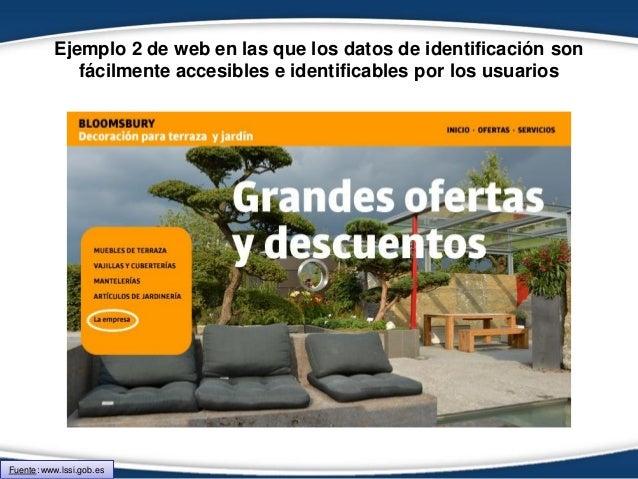 Ejemplo 2 de web en las que los datos de identificación son fácilmente accesibles e identificables por los usuarios Fuente...