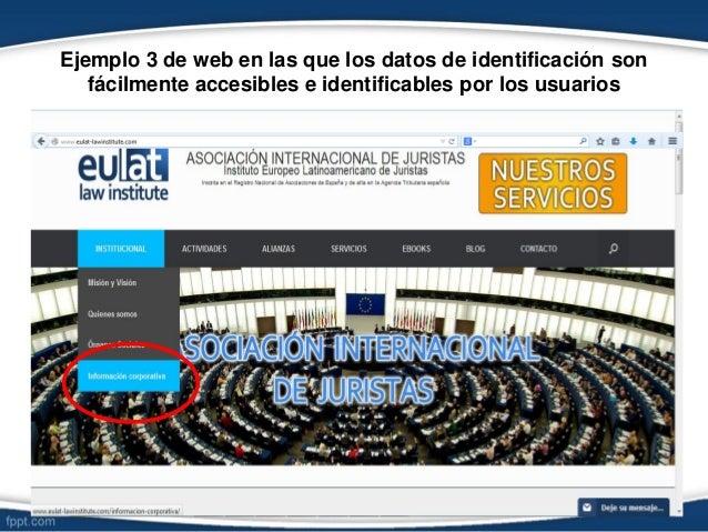 Ejemplo 3 de web en las que los datos de identificación son fácilmente accesibles e identificables por los usuarios ≈