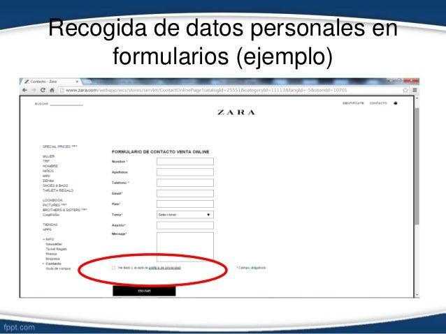 Recogida de datos personales en formularios (ejemplo)