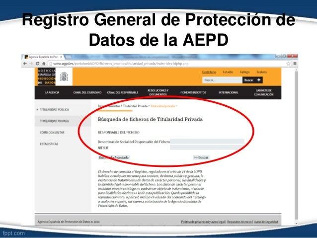 Registro General de Protección de Datos de la AEPD