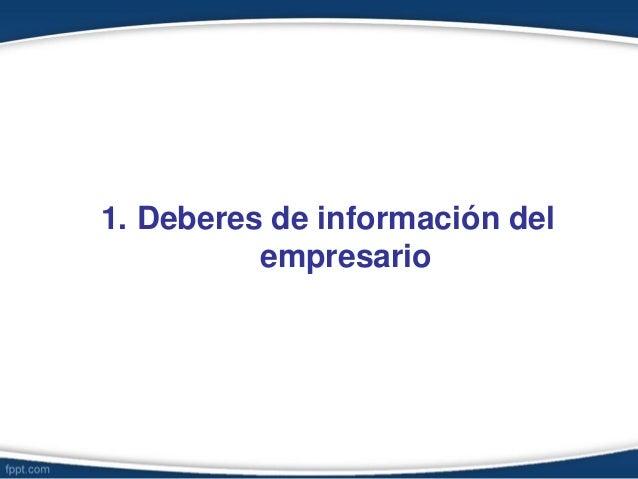 1. Deberes de información del empresario