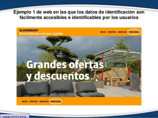 Ejemplo 1 de web en las que los datos de identificación son fácilmente accesibles e identificables por los usuarios Fuente...