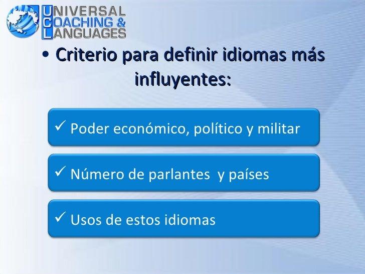<ul><li>Criterio para definir idiomas más influyentes: </li></ul><ul><li>Número de parlantes  y países </li></ul><ul><li>P...