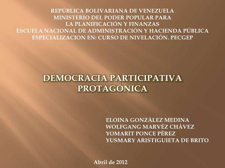 REPÚBLICA BOLIVARIANA DE VENEZUELA          MINISTERIO DEL PODER POPULAR PARA              LA PLANIFICACIÓN Y FINANZASESCU...