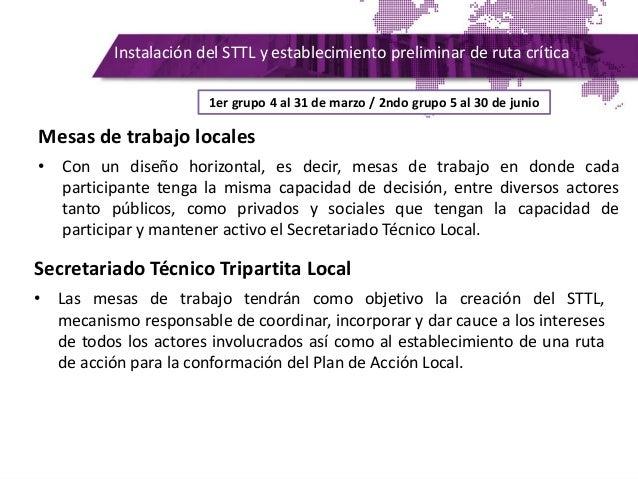 Instalación del STTL y establecimiento preliminar de ruta crítica Mesas de trabajo locales • Con un diseño horizontal, es ...