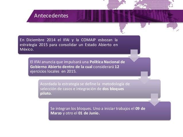 Antecedentes En Diciembre 2014 el IFAI y la COMAIP esbozan la estrategia 2015 para consolidar un Estado Abierto en México....