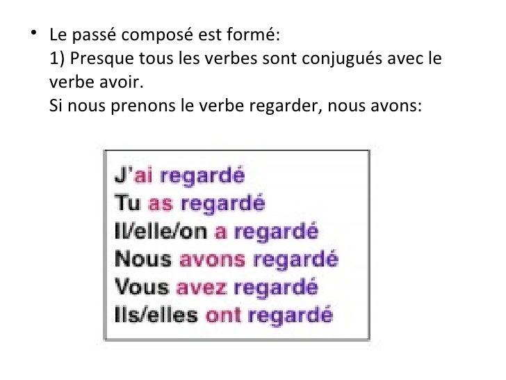 <ul><li>Le passé composé est formé: 1) Presque tous les verbes sont conjugués avec le verbe avoir. Si nous prenons le verb...
