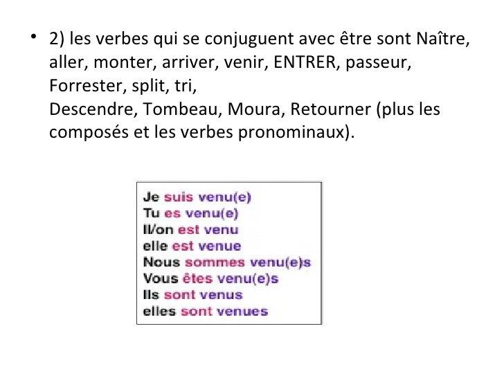 <ul><li>2) les verbes qui se conjuguent avec être sont Naître, aller, monter, arriver, venir, ENTRER, passeur, Forrester, ...