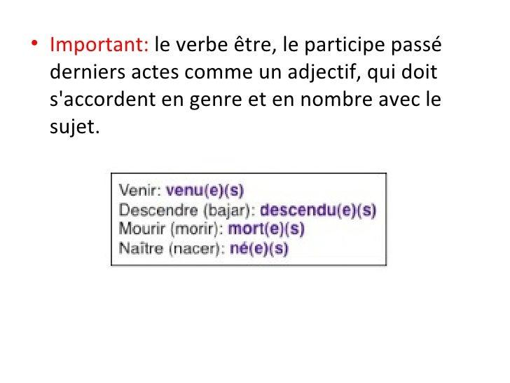 <ul><li>Important:  le verbe être, le participe passé derniers actes comme un adjectif, qui doit s'accordent en genre et e...