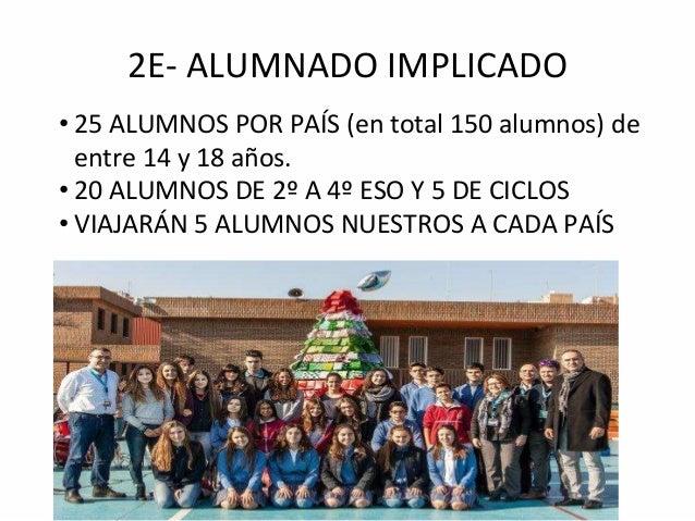 2E- ALUMNADO IMPLICADO • 25 ALUMNOS POR PAÍS (en total 150 alumnos) de entre 14 y 18 años. • 20 ALUMNOS DE 2º A 4º ESO Y 5...