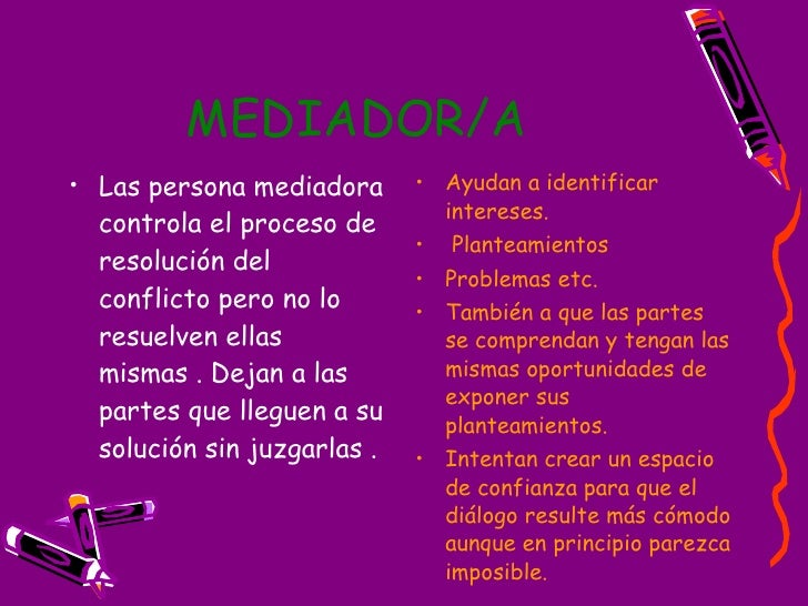 MEDIADOR/A   <ul><li>Las persona mediadora controla el proceso de resolución del conflicto pero no lo resuelven ellas  mis...