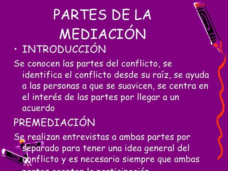 PARTES DE LA MEDIACIÓN <ul><li>INTRODUCCIÓN </li></ul><ul><li>Se conocen las partes del conflicto, se identifica el confli...