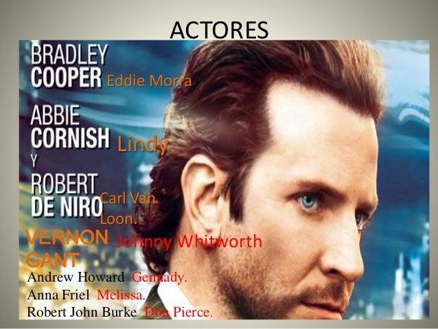 ACTORES Eddie Morra Carl Van Loon. Lindy VERNON GANT Johnny Whitworth Andrew Howard Gennady. Anna Friel Melissa. Robert Jo...