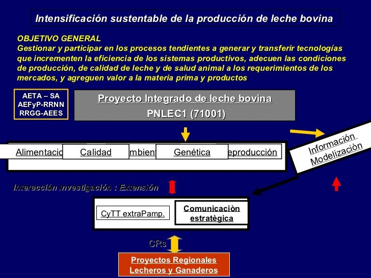 Intensificación sustentable de la producción de leche bovina OBJETIVO GENERAL Gestionar y participar en los procesos tendi...