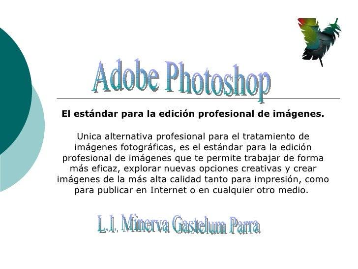 Adobe Photoshop El estándar para la edición profesional de imágenes. Unica alternativa profesional para el tratamiento de ...