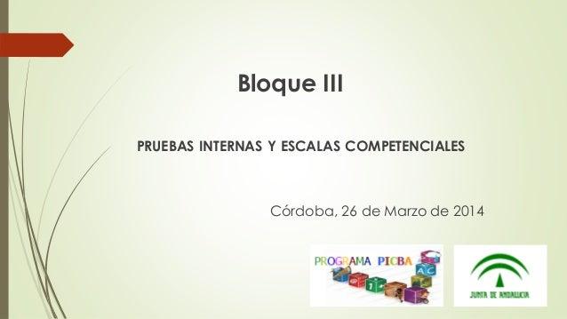 Bloque III PRUEBAS INTERNAS Y ESCALAS COMPETENCIALES Córdoba, 26 de Marzo de 2014