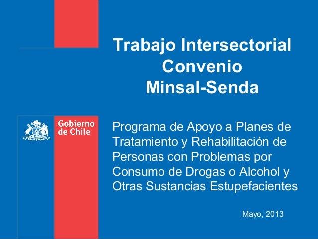 Mayo, 2013Trabajo IntersectorialConvenioMinsal-SendaPrograma de Apoyo a Planes deTratamiento y Rehabilitación dePersonas c...