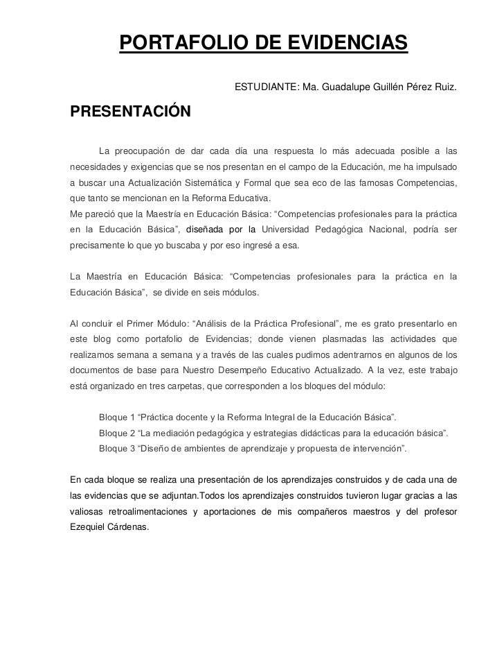 PORTAFOLIO DE EVIDENCIAS                                        ESTUDIANTE: Ma. Guadalupe Guillén Pérez Ruiz.PRESENTACIÓN ...