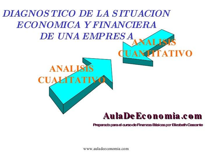 www.auladeeconomia.com DIAGNOSTICO DE LA SITUACION ECONOMICA Y FINANCIERA DE UNA EMPRESA ANALISIS CUALITATIVO ANALISIS  CU...