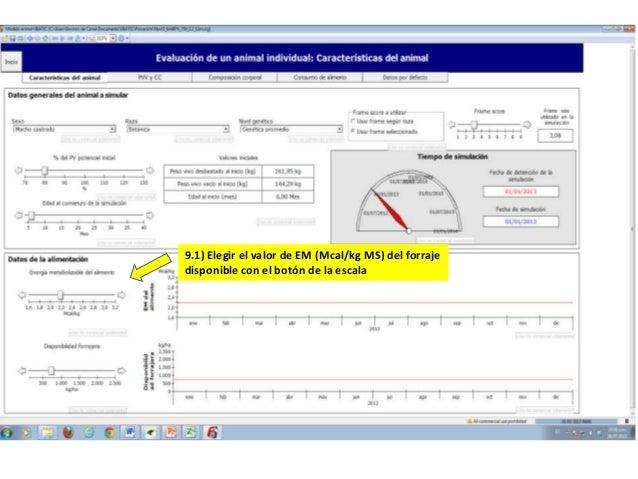 9.1) Elegir el valor de EM (Mcal/kg MS) del forraje disponible con el botón de la escala