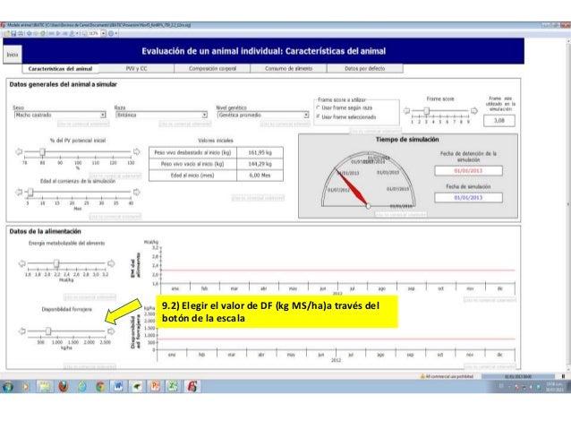 9.2) Elegir el valor de DF (kg MS/ha)a través del botón de la escala