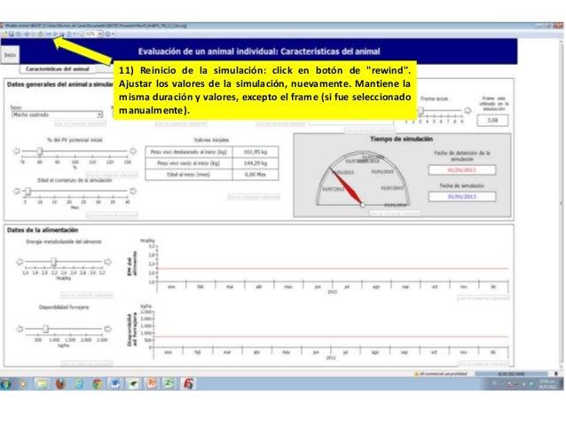 """11) Reinicio de la simulación: click en botón de """"rewind"""". Ajustar los valores de la simulación, nuevamente. Mantiene la m..."""