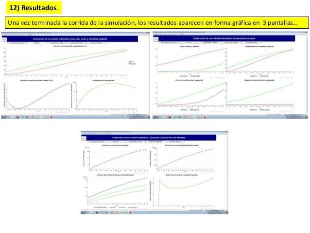 12) Resultados. Una vez terminada la corrida de la simulación, los resultados aparecen en forma gráfica en 3 pantallas…