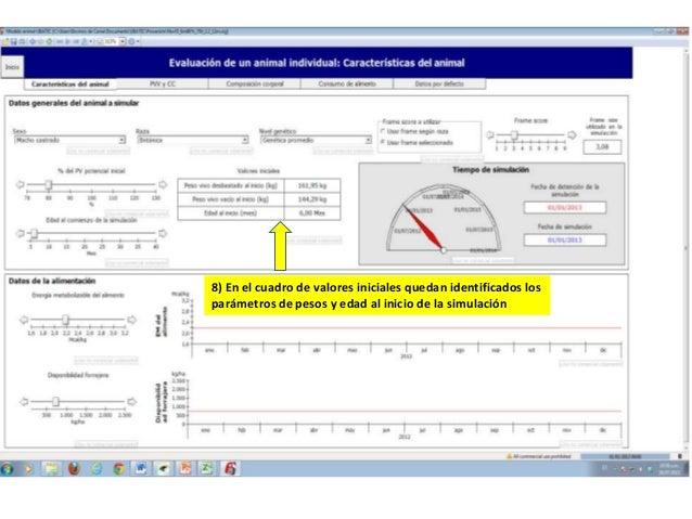 8) En el cuadro de valores iniciales quedan identificados los parámetros de pesos y edad al inicio de la simulación