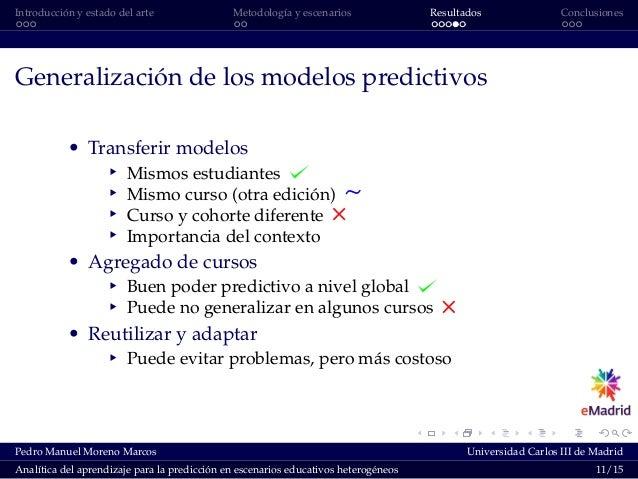 Introducción y estado del arte Metodología y escenarios Resultados Conclusiones Generalización de los modelos predictivos ...