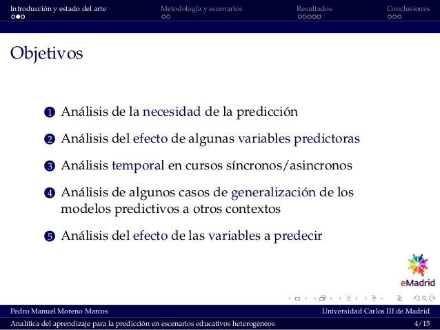 Introducción y estado del arte Metodología y escenarios Resultados Conclusiones Objetivos 1 Análisis de la necesidad de la...