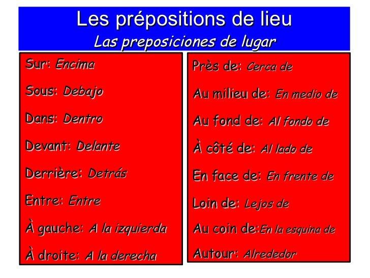 Les prépositions de lieu Las preposiciones de lugar <ul><li>Sur:  Encima