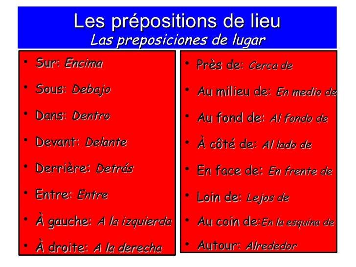 Les prépositions de lieu Las preposiciones de lugar <ul><li>Sur:  Encima </li></ul><ul><li>Sous:   Debajo </li></ul><ul><l...