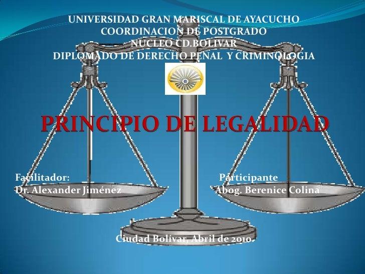 UNIVERSIDAD GRAN MARISCAL DE AYACUCHO <br />COORDINACION DE POSTGRADO<br />NUCLEO CD.BOLIVAR<br />DIPLOMADO DE DERECHO PEN...