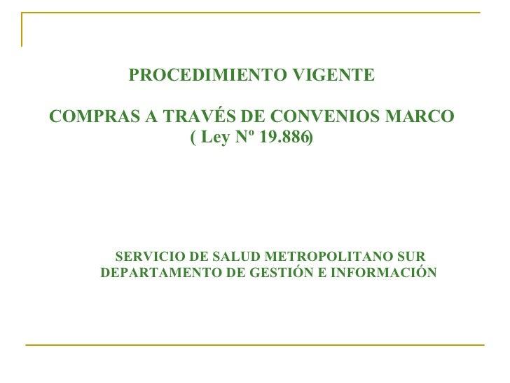 PROCEDIMIENTO VIGENTE COMPRAS A TRAVÉS DE CONVENIOS MARCO ( Ley Nº 19.886) SERVICIO DE SALUD METROPOLITANO SUR DEPARTAMENT...